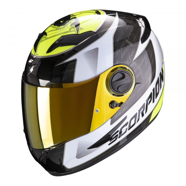 Scorpion Helm EXO-490 Tour white-noeon yellow