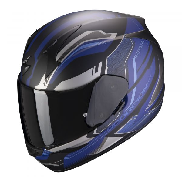 Scorpion Helm EXO-390 Boost matt black-silver-blue