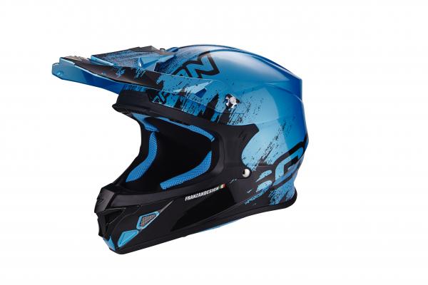 Scorpion Crosshelm VX-21 AIR Mudirt schwarz-himmelblau