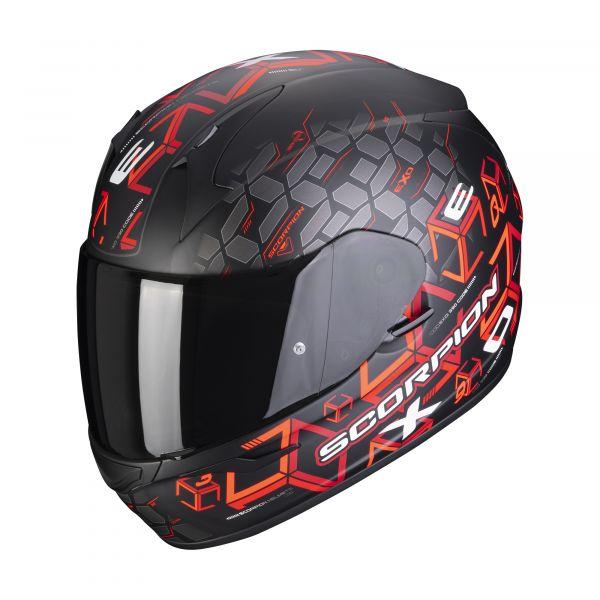 Scorpion Helm EXO-390 Cube matt black-red