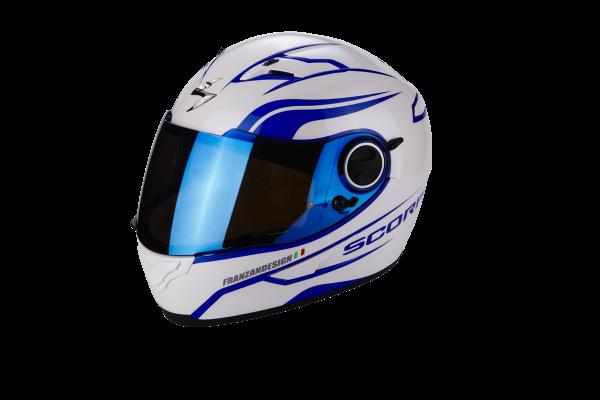 Scorpion Helm EXO-490 Luz perlmuttweiss-blau