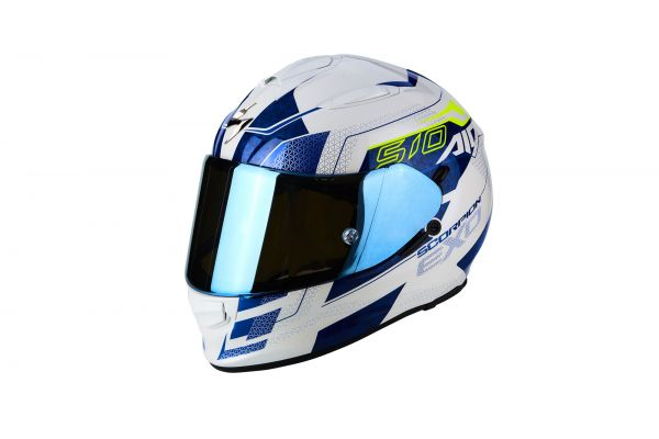 Scorpion Helm EXO-510 AIR Galva Pearl White-Blue