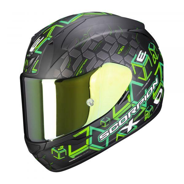 Scorpion Helm EXO-390 Cube matt black-green